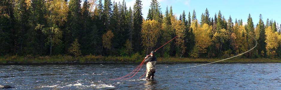 Alan Maughan spey casting on a river